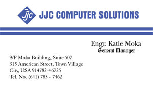 Jaze Sample Business Card